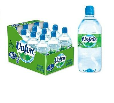 Volvic Natural Mineral Water Bottle Plastic with Sports Cap 1 Litre 12 Pack