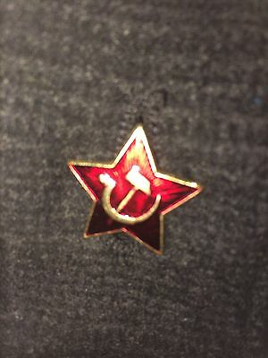 Authentic Russian USSR Metal Badge Communist Red Star