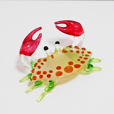 Green Crab Figurine Animal Hand Paint Blown Glass Home Decorate Collectible Gift