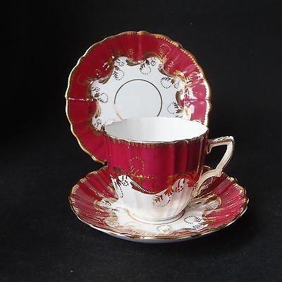 Antique Victorian Trio G.P. - Cup, Saucer & Side Plate - Maroon, Gold & White