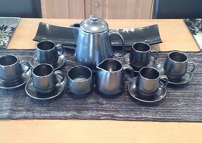 Prinknash Pottery Gun Metal / Pewter Pottery Coffee Set 15 Piece Set