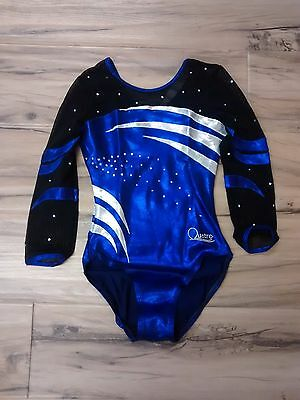 "Quatro Gymnastics Girls 3/4 sleeve Leotard Purple White & Black net 36"" Adult M"