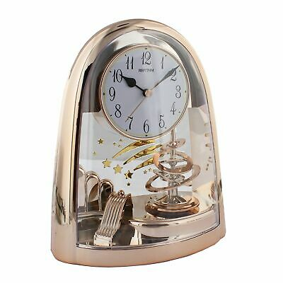 Rhythm Plastic Rose Gold Mantel Table Clock with Spiral Pendulum