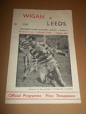Wigan V Leeds Rugby League Programme 1963 ~ Very Good