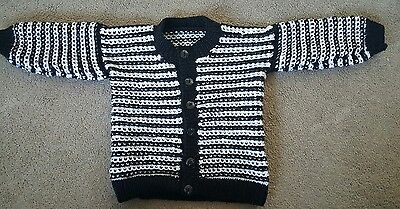 Handmade hand knitted baby boy cardigan 12-18 months