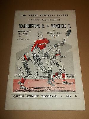 Feathestone V Wakefield Challenge Cup Semi Final 1962 Rugby League Programe