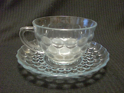 Vintage Anchor Hocking Sapphire Blue Bubble Cup And Saucer Set 10 Available