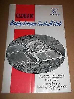Oldham V Huddersfield ~ Rugby League Programme 1965 Very Good Condition