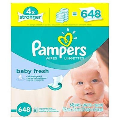 Pampers Baby Wipes Baby Fresh 9X Refill, 648 Diaper Wipes New