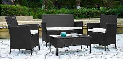 Garden Furniture Set Table Chair and Sofa Black RATTAN Conservatory, Patio