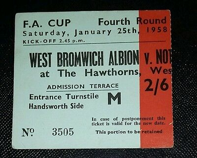 1958 FA Cup 4th round WEST BROMWICH ALBION  v NOTTINGHAM FOREST original ticket