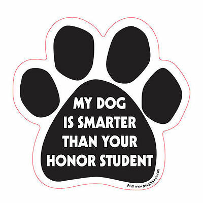 My Dog Is Smarter Than Your Honor Student Dog Paw Quote Car Magnet