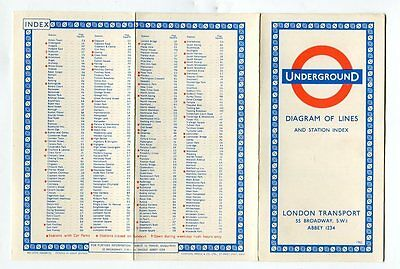 London Transport Underground: Diagram of Lines: card map: 1962 (9/62)