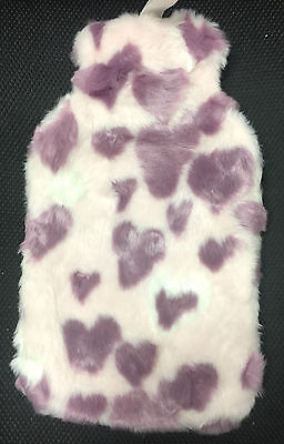 2L Hot Water Bottle with Fleece Fluffy Fur Case Purple Pink Hearts Extra Soft
