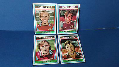 4 x Topps Chewing Gum Cards Aston Villa Football Club 1975/76 Blue Back