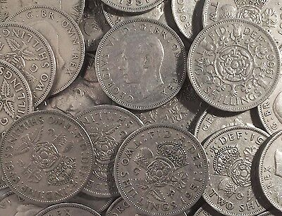 British Two Shilling Coins - 1947 - 1967 - Choose Your Year - Old Money Vintage