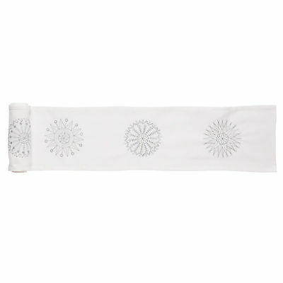 Swedish White Table runner with embroidered silver snowflakes  (20x200cm)