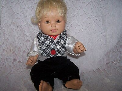 """Baby So Beautiful"" 12"" Baby Doll Rare Blonde Hair Green Eyes BSB Outfit-Boy"