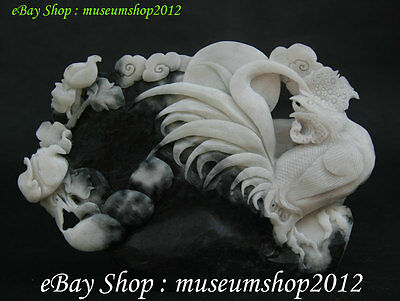Chinese Natural 100% Dushan Jade Pure Hand Cock Rooster animal Statue Sculpture