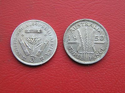 1941 South Africa and 1957 Australia silver 3d threepence (ref e320)