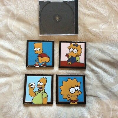 the simpsons,4 ceramic tile coasters.