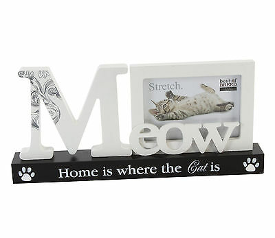 "Meow ""home Is Where The Cat Is"" Cat Photo Frame - Great Cat Lover Christmas Gift"