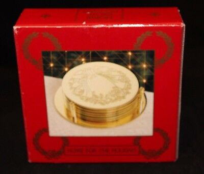 NIB Set of 6 Brass Coasters with Holder - Home for the Holidays - Wreath Motif