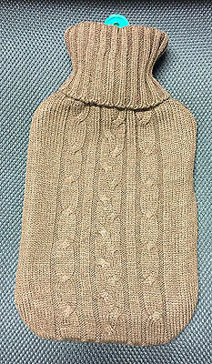 Dark Brown 2L Hot Water Bottle with Knitted Wool Case Extra Soft