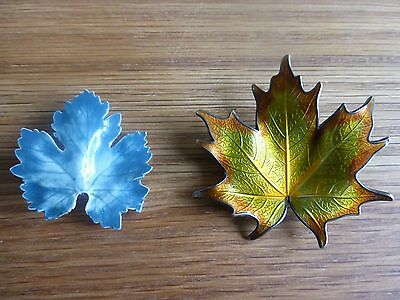 Two Vintage Leaf Brooches.
