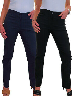 Ladies Girls Trousers School Office Stretch Straight with Pockets NEW 6-18