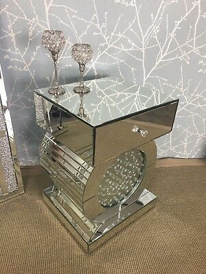 Venetian Glass Floating Crystal 1 Drawer Mirror Bedside Table Cabinet Lamp Stand