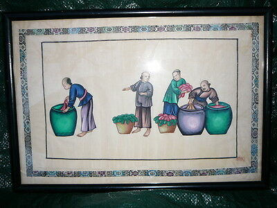 Old Vintage Antique Oil Painting On Silk China Trade Servants/workers