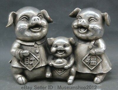 """9"""" Chinese Folk silver Zodiac Year wealth Happy Family Fu Pig statue sculpture"""