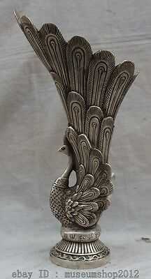 """14"""" China Chinese Dynasty Palace Silver Fu phoenix Statue goblet Cup wineglass"""