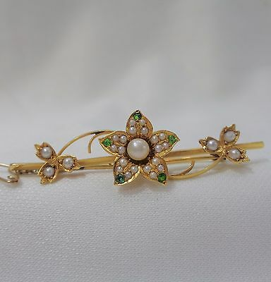 Antique 15ct Yellow Gold Pearl and Green Garnet  Brooch with Floral Design