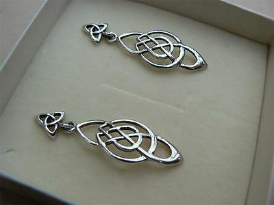 PAST TIMES Celtic Scottish Durham Knot earrings Sterling Silver original box 80s