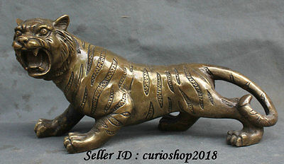 "12""China Folk Copper Bronze Lucky Feline animal Ferocious tiger Statue Sculpture"