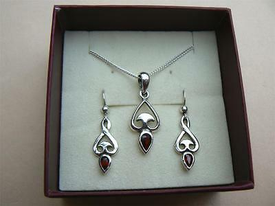 PAST TIMES Garnet Celtic pendant and earrings set Sterling Silver in box, 80s