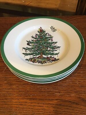"Set Of 4 Brand New Spode Christmas Tree 8"" Salad Plates Dishes"
