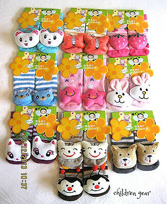 New 3D Funny Baby Cartoon Character Anti-slip Walking Rattle Socks 6-12 Months