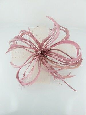 Dusky Pink Feather and Mesh Bow Fascinator