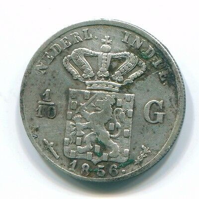 1856 Netherlands East Indies 1/10 Gulden Silver Colonial Coin Nl13133#3