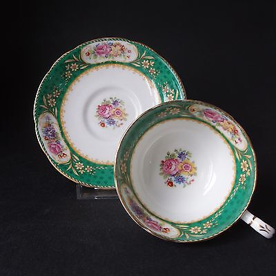 Paragon Vintage 'Sevres' Green Cabinet Cup & Saucer Pattern F631/D
