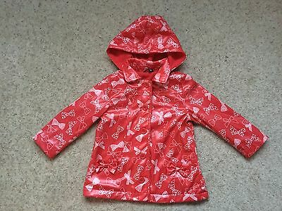 Girls Fleece Lined Bow Print Coat From George  Age 2-3 Years Hardly Worn