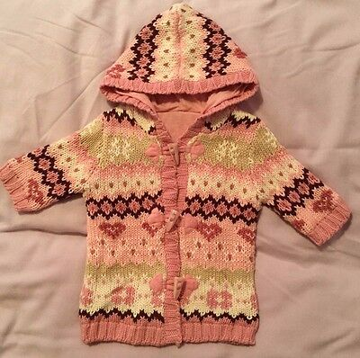 Baby Girls Hooded Knitted Coat From George  First Size  Great Cond