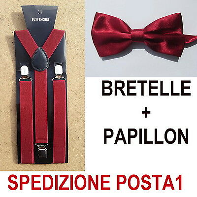 Bretelle + Papillon Uomo Donna Adulto Regolabili Cravattino Raso Bordeaux Bordo'