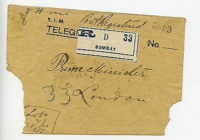 India 1919 registered cover Service stamps Bombay to London (J704)
