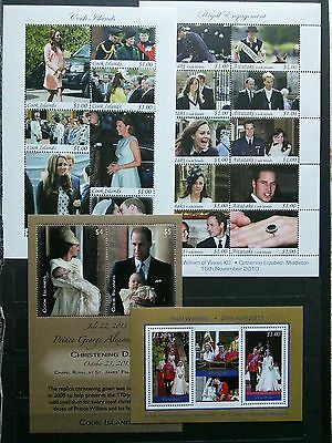 will and kate on cook islands stamps mint nh