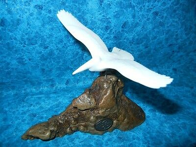 Flying White Pelican Bird Sculpture - Signed John Perry Statue -