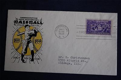 1939 Baseball Centennial Stamp FDC Coulthard Cachet Cover Sc#855 Cooperstown, NY